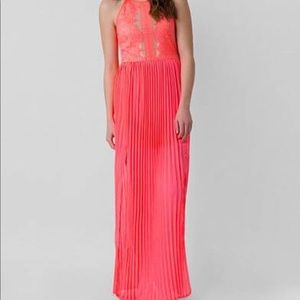 Buckle Neon Coral Lace Dress